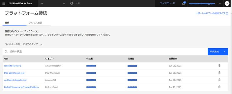 プラットフォーム接続を利用したデータソース管理