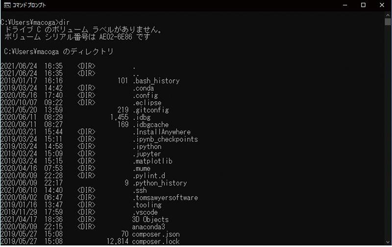 図表1-1 文字ベースのインターフェース ~Windowsのコマンド・プロンプト